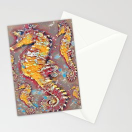 PUTTY GREY & GOLD SEA HORSES BEACH ART Stationery Cards