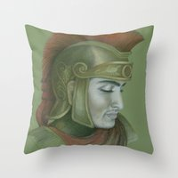 soldier Throw Pillows featuring Soldier by Jane Stradwick