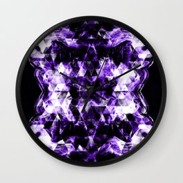 Electrifying ultra violet purple sparkly triangle flames Wall Clock