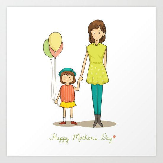 mom and kid cartoon art print - Kid Prints