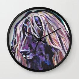 Fun Afghan Hound Dog Portrait bright colorful Pop Art by LEA Wall Clock