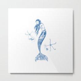 Sleeping Mermaid and Brittle stars Metal Print