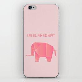 Big, Happy Elephant - Origami Pink Elephant iPhone Skin