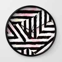 striped Wall Clocks featuring Striped by ST STUDIO