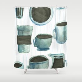 coffees watercolor Shower Curtain