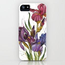 Watercolor iris flowers iPhone Case