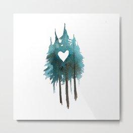Forest Love - heart cutout watercolor artwork Metal Print