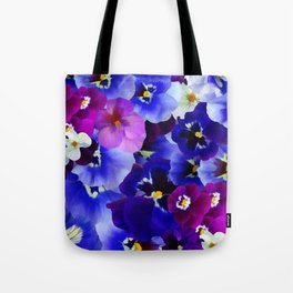 Abstract blue purple pink white pansies floral Tote Bag