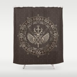 Gungnir - Spear of Odin Brown Leather and gold Shower Curtain