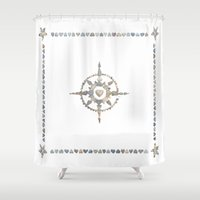 compass Shower Curtains featuring Compass by loverocksme