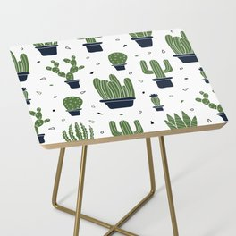 Cactus Plants Pattern- Green Side Table