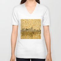 dallas V-neck T-shirts featuring dallas city skyline by Bekim ART