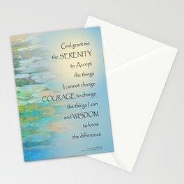Serenity Prayer Koi Pond Blue Green Stationery Cards