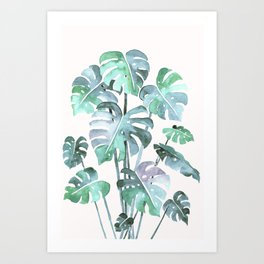 Delicate Monstera Blue And Green #society6 Art Print