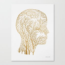 Head Profile Branches - Gold Canvas Print