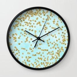 Sparkling gold glitter confetti on aqua ocean blue watercolor background-Luxury pattern on #Society6 Wall Clock
