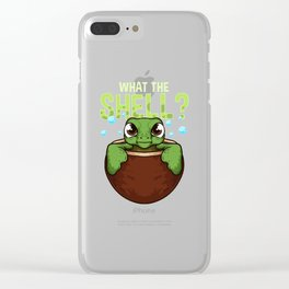 Cute & Funny What The Shell? Turtle Pun Animal Clear iPhone Case