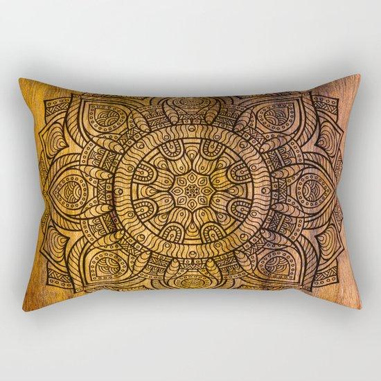 Mandala on wood Rectangular Pillow