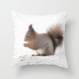 Squirrel And Lunch Pause Winter Scene #decor #society6 #buyart Throw Pillow