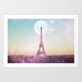 I LOVE PINK PARIS EIFFEL TOWER - Full Moon Universe Art Print