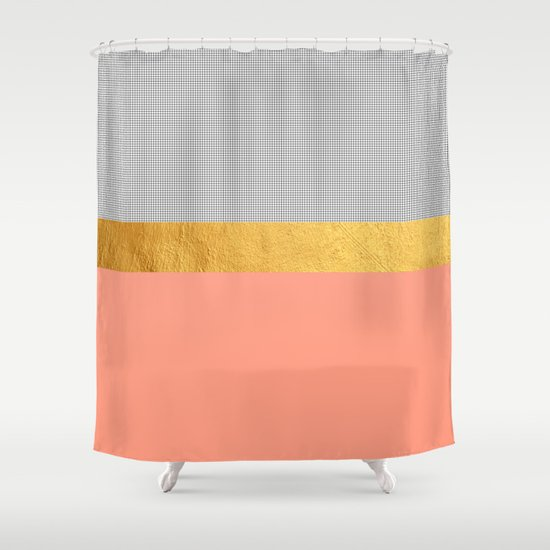 Minimalist Fashion Peach Pink Gold Squares Shower Curtain By Cadinera S