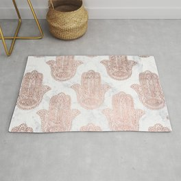 Modern rose gold floral lace hamsa hands white marble illustration pattern Rug