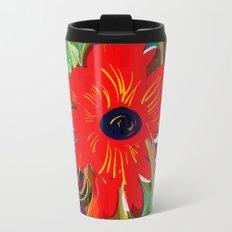 Beautiful flower art pattern decorative Metal Travel Mug