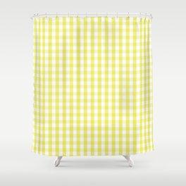 Citron Lemon Gingham Check Tartan Shower Curtain