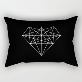 Geometric Black and White lowpoly Polygonal Diamond Shape Design Valentines Day Gift for Girlfriend Rectangular Pillow