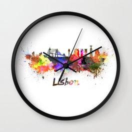 Lisbon skyline in watercolor Wall Clock