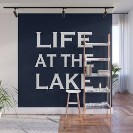 Life At The Lake - Navy Blue and White Wall Mural