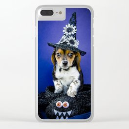 Tiny Tricolor Beagle Puppy Wearing a Fashion Witch Hat Poses in a Halloween Spider Basket Clear iPhone Case