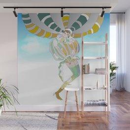 Girl who flies in her balloon dress Wall Mural
