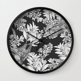 Black and White Leaves Wall Clock