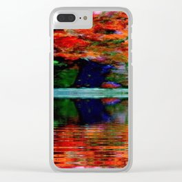 SURREAL RED POPPIES GREEN VASE REFLECTIONS Clear iPhone Case