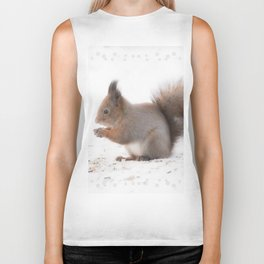 Squirrel And Lunch Pause Winter Scene #decor #society6 #buyart Biker Tank