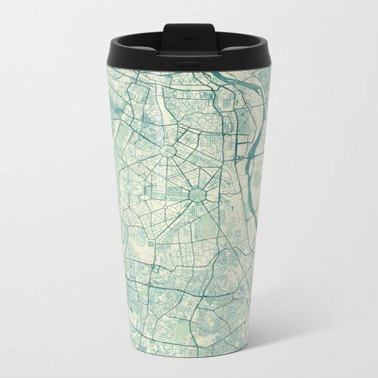 Delhi Map Blue Vintage Metal Travel Mug