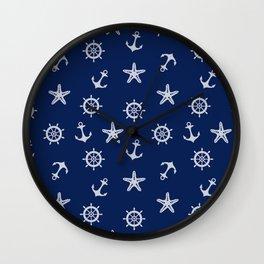 Navy Blue Nautical Pattern Wall Clock