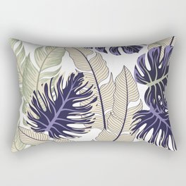 Botanical seamless tropical pattern with bright plants and flowers on a white background. Seamless exotic pattern with tropical plants. Beautiful seamless vector floral pattern. Rectangular Pillow