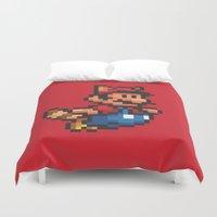 mario bros Duvet Covers featuring Pixelated Super Mario Bros - Mario by Katadd