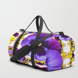 ASYMMETRICAL SPRING PURPLE & YELLOW PANSIES  ART Duffle Bag