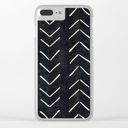 Mudcloth Big Arrows in Black and White Clear iPhone Case