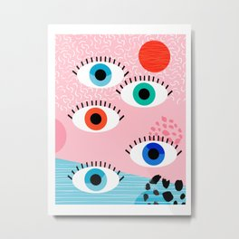 Noob - eyes memphis retro throwback 1980s 80s style neon art print pop art retro vintage minimal Metal Print