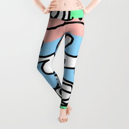 Crashing Wave - Black White Green Blue Leggings