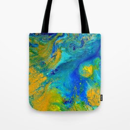 Yellow, Blue abstract design Tote Bag