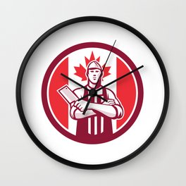 Canadian Butcher Front Canada Flag Icon Wall Clock