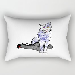 Porcelain Inked Cat Rectangular Pillow