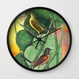 Orioles with Catalpa Tree, Natural History, Vintage Botanical Collage Wall Clock