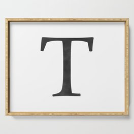 Letter T Initial Monogram Black and White Serving Tray