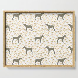 Big Grey Weimaraner Dog and Yellow Paw Prints Serving Tray